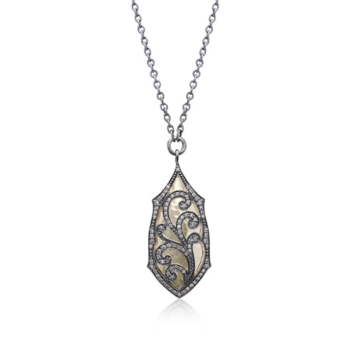 Brown Diamond Scroll & 18k Gold Pendant Necklace - Lois Hill Jewelry