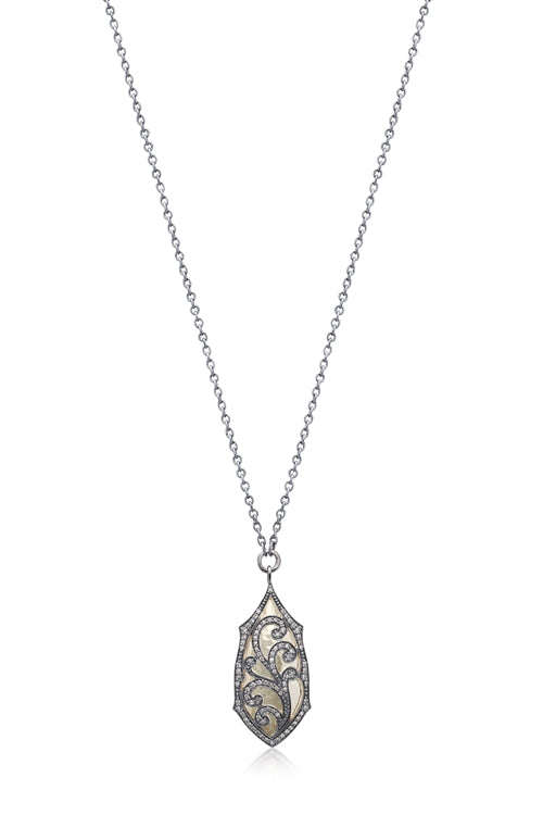 Brown Diamond Scroll & 18k Gold Pendant Necklace