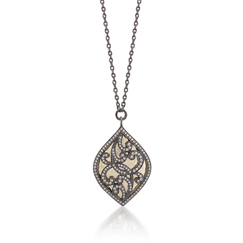 18k Gold and Brown Diamond Drop Necklace - Lois Hill Jewelry