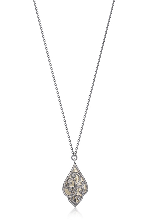 Brown Diamond & 18k Gold Scroll Necklace - Lois Hill Jewelry