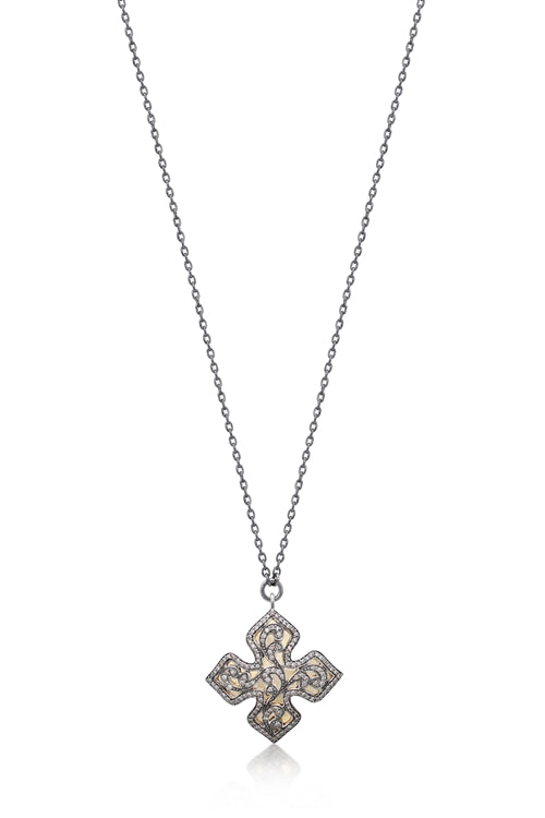Brown Diamond & 18k Gold Cross Necklace