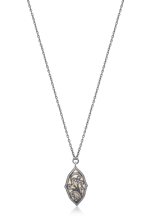 Oval Brown Diamond and 18k Gold Scroll Necklace