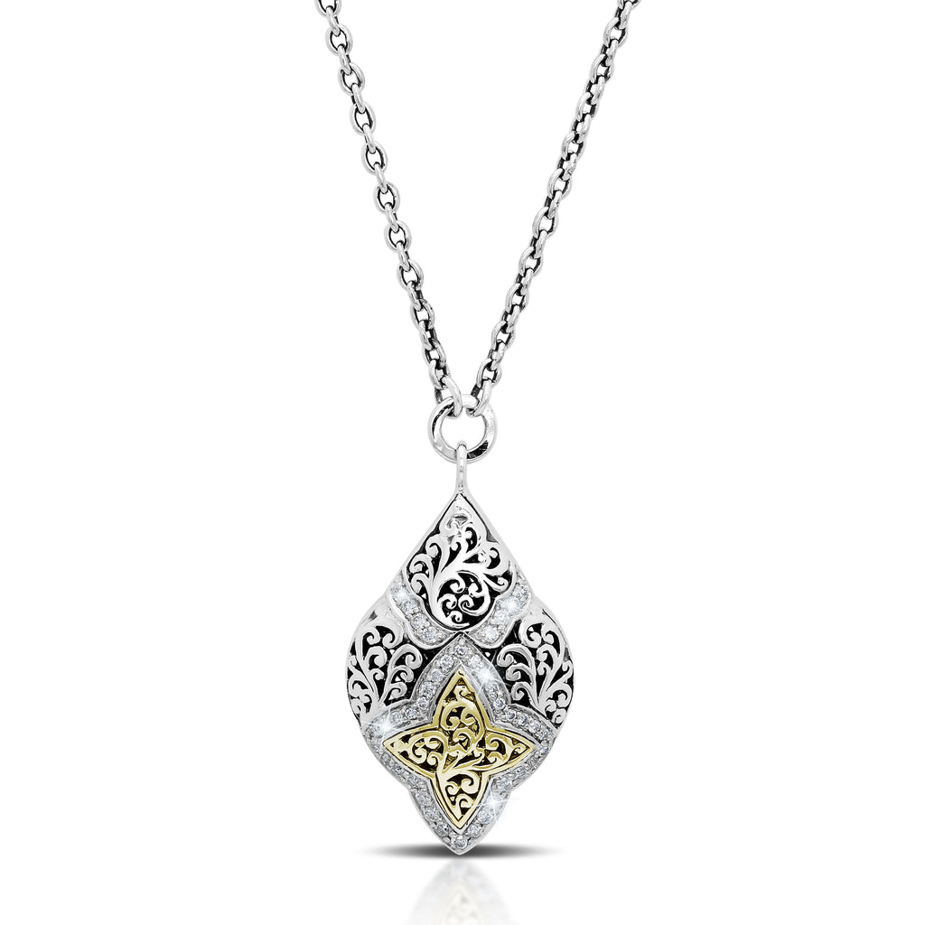 18K Gold, White Diamond, Criss Cross Pendant