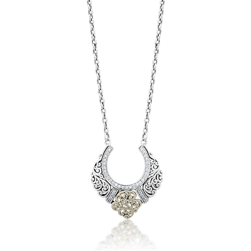 18K Gold, White Diamond, Open Scroll half moon pendant necklace