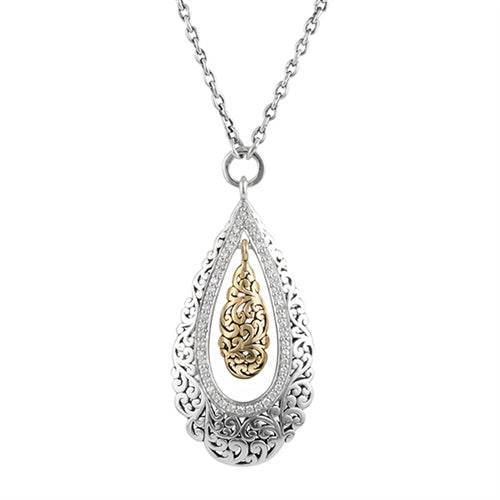 18K Gold, White Diamond, Open Scroll teardrop pendant necklace