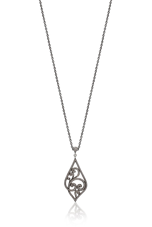 Brown Diamonds, Open Scroll Pendant Necklace - Lois Hill Jewelry