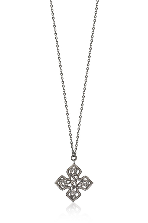 Brown Diamonds, Open Scroll Maltese Cross Pendant Necklace - Lois Hill Jewelry