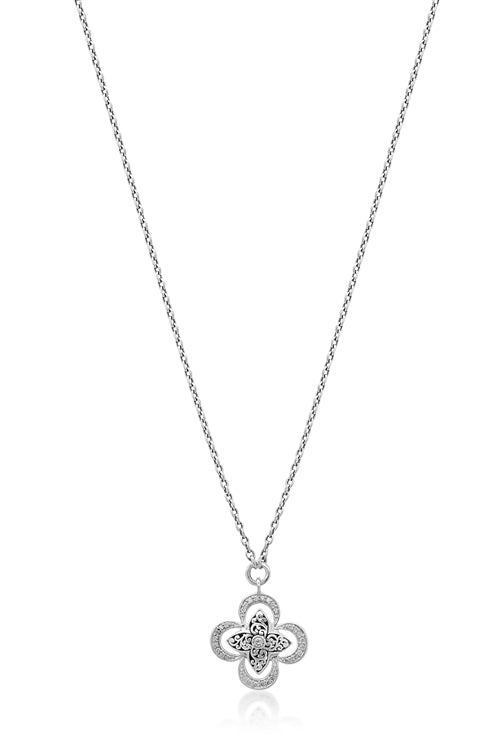 Cutout and Diamond Flower Necklace - Lois Hill Jewelry