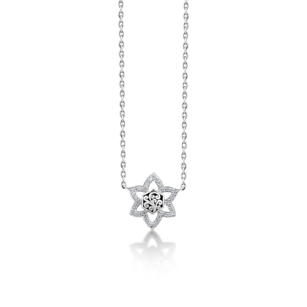 White Diamond LH Signature Scroll Star Necklace in Sterling Silver