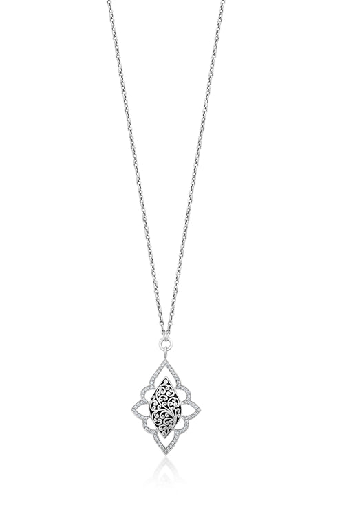 Classic Diamond and Scroll Necklace - Lois Hill Jewelry