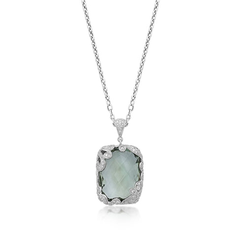 Signature Scroll Diamonds, Green Amethyst Pendant Necklace