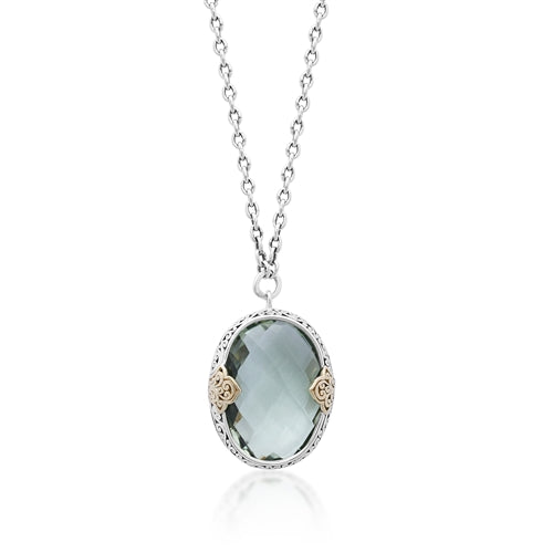 18K & Sterling Silver, Green Quartz Oval Pendant Necklace - Lois Hill Jewelry
