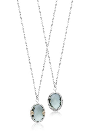 18K & Sterling Silver, Green Quartz Oval Pendant Necklace