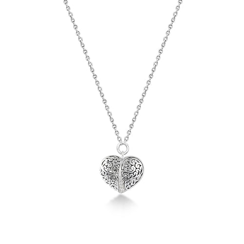 LH Hand Carved Scroll md Heart Diamond Pendant Necklace