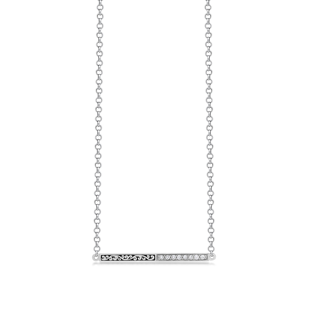 Classic Sterling Silver Scroll Bar with Diamond Pendant Necklace