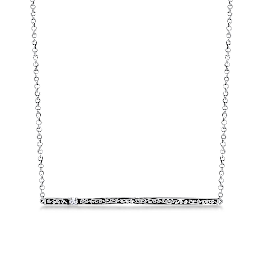 Classic Sterling Silver Scroll with Diamond Pendant Necklace