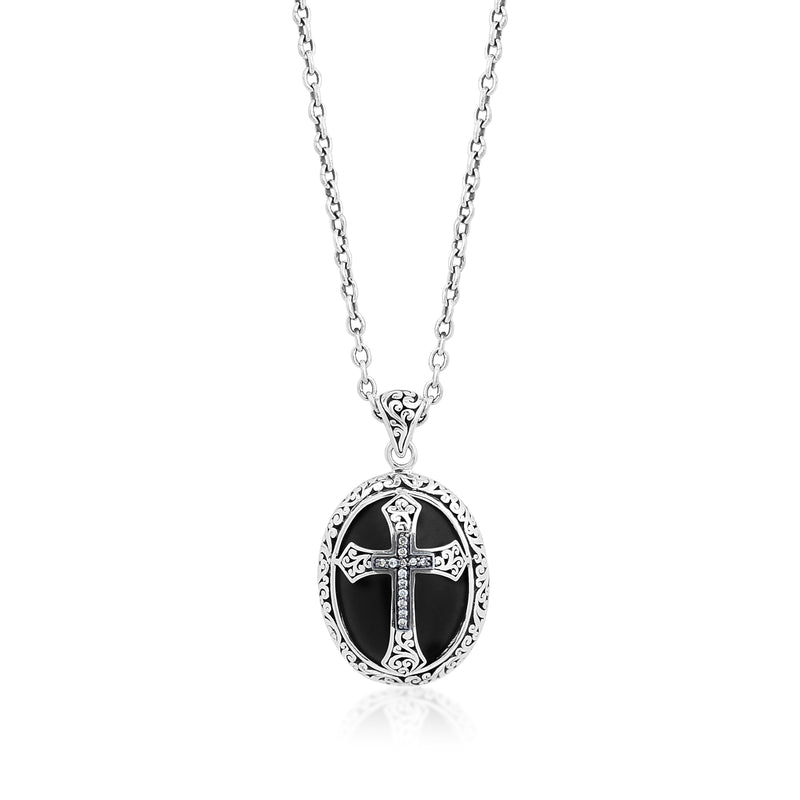 Cross Brown Diamond & Oval Matte Black Onyx with Signature Scroll Pendant Necklace