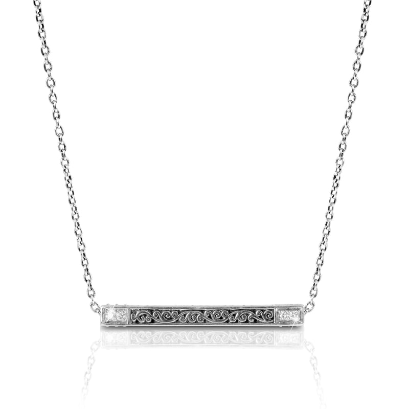 "Classic Signature Scroll Diamond Long Horizontal Stick Pendant Necklace. 35mm W x 4mm H Pendant on 16"" chain"