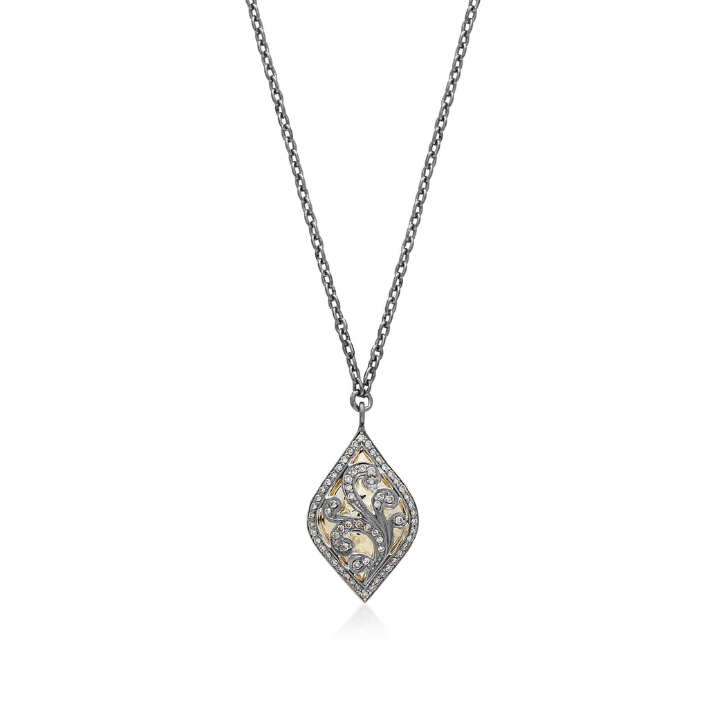 Marquise Brown Diamond and 18k Gold Scroll Necklace. 23mm x 14mm Pendant