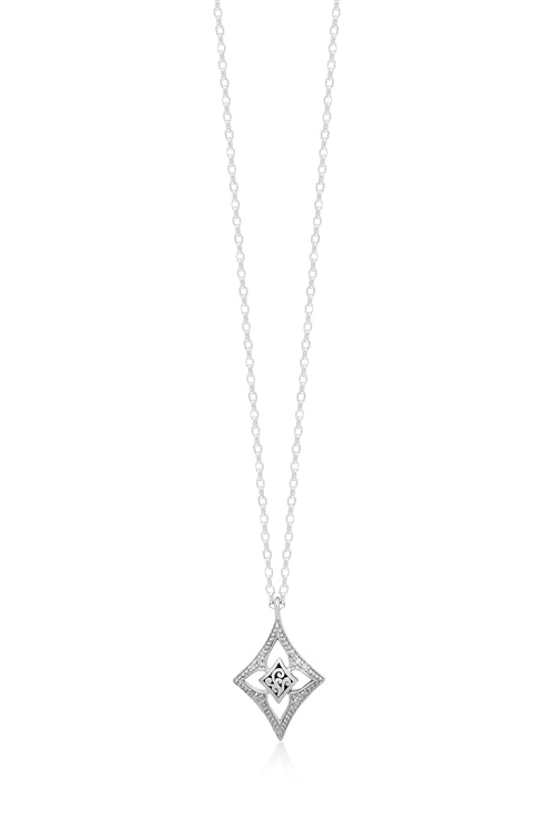 White Diamond LH Signature Scroll Small Diamond-shaped Open Frame Pendant Necklace