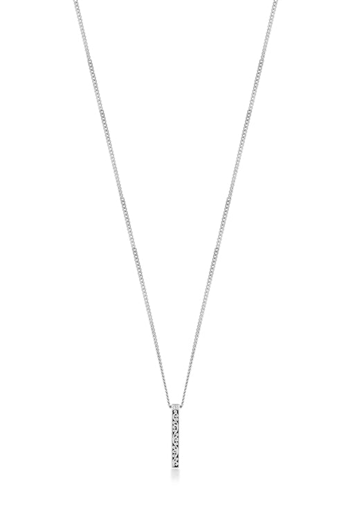 White Diamond Sterling Silver LH Signature Scroll Bar Pendant Necklace on Adjustable Chain