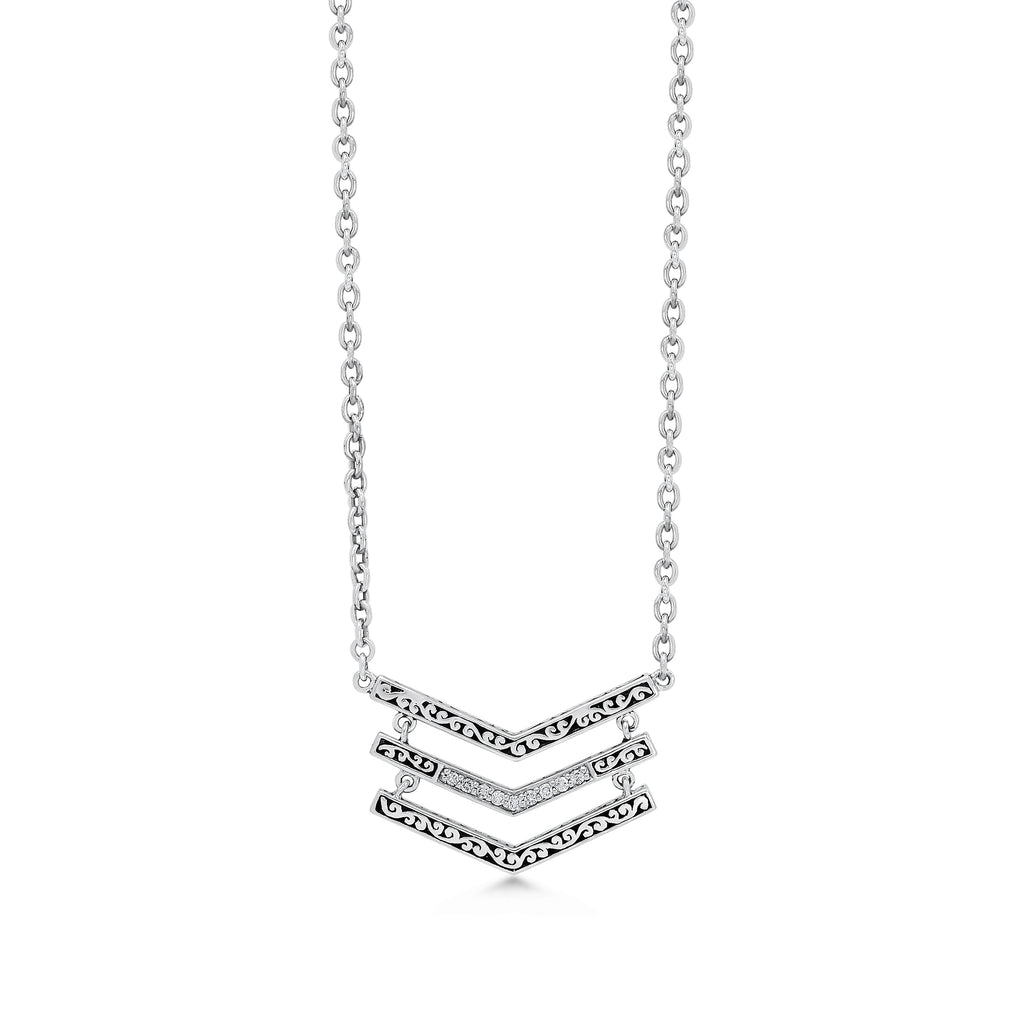 Classic Sterling Silver Scroll with Diamond Pendant on Chain Necklace