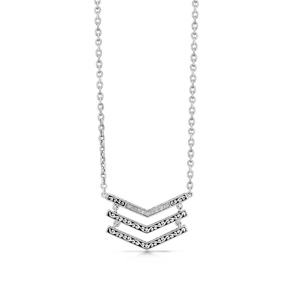 Classic Sterling Silver Scroll with Diamond Pendant Necklace - Lois Hill Jewelry