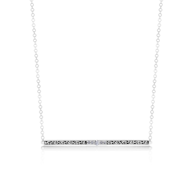 Classic Sterling Silver Scroll Bar with Diamond Pendant Necklace - Lois Hill Jewelry