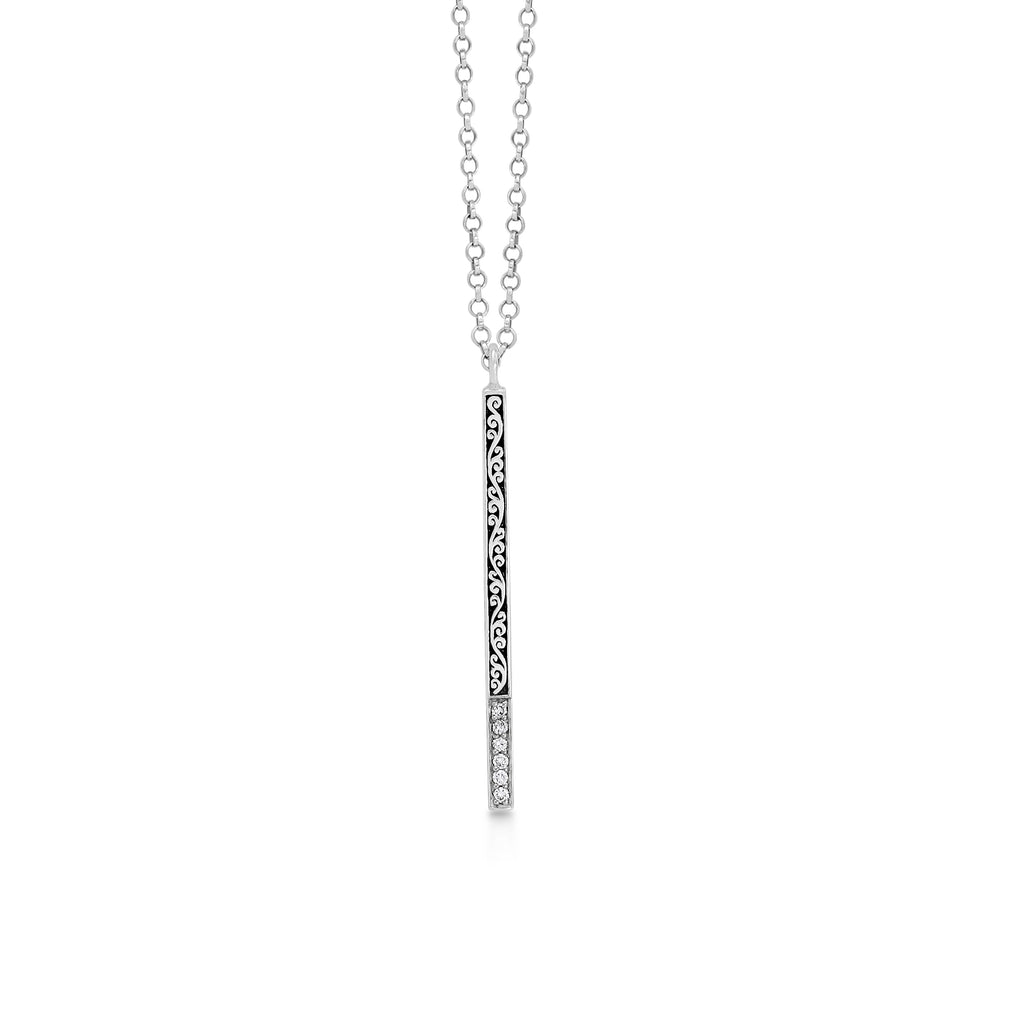 Classic Sterling Silver Vertical Scroll Bar with Diamond Pendant Necklace - Lois Hill Jewelry
