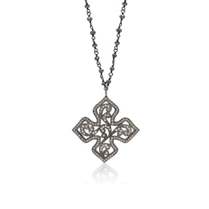 Brown Diamond Open Scroll Pendant on Black Diamond Rough Cut Wire-Wrapped Necklace. 29mm Pendant on 16'' Chain
