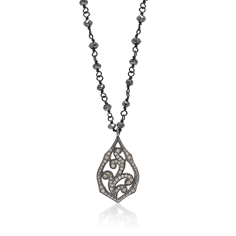 Brown Diamond Teardrop Pendant on Black Diamond Rough Cut Wire-Wrapped Necklace. 14mm x 27mm Charm on 16'' Chain