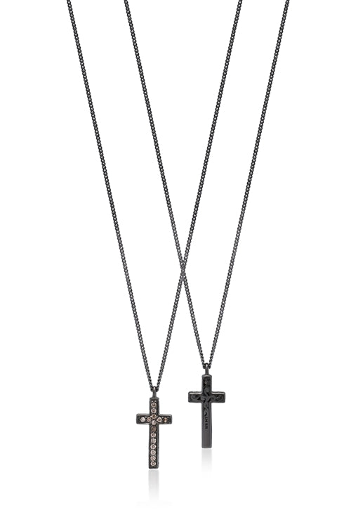 Brown Diamond Cross Pendant Necklace in Black Rhodium Plated Sterling Silver
