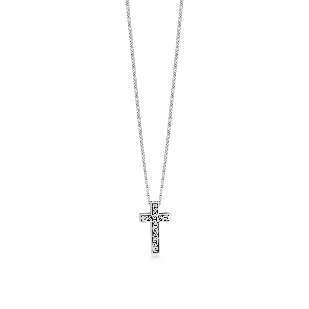 Classic Sterling Silver Cross with Diamond Pendant Necklace - Lois Hill Jewelry
