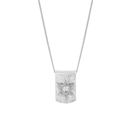 White Diamond Sterling Silver LH Star Dog Tag Pendant Necklace on Adjustable Chain