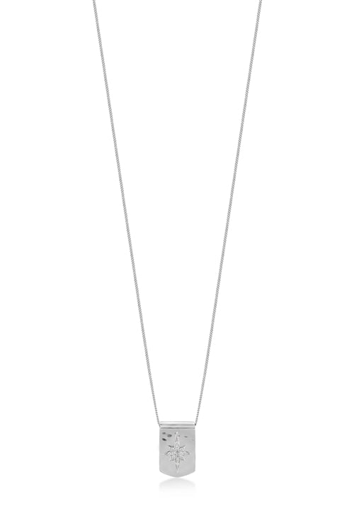 White Diamond Sterling Silver LH Starburst Dog Tag Pendant Necklace on Adjustable Chain - Lois Hill Jewelry