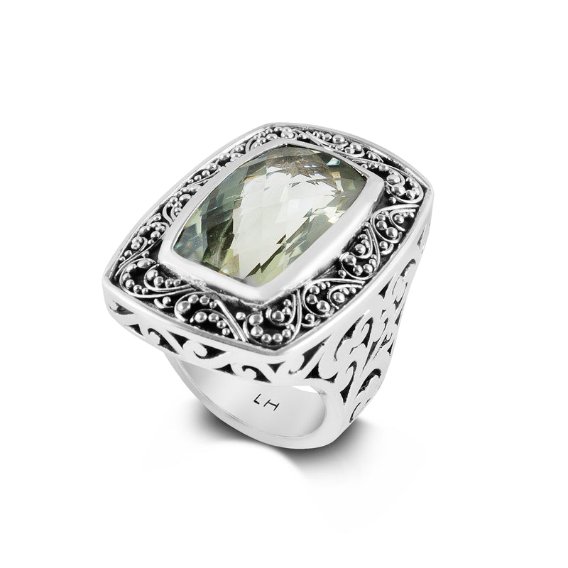 Square Green Amethyst Ring with Granulated Border. 31mm H x 23mm stone