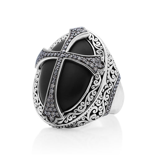 Brown Diamond & Matte Black Onyx Cross Cocktail Ring