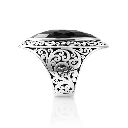 Classic Cutout Scroll Marquise ring with Black Onyx