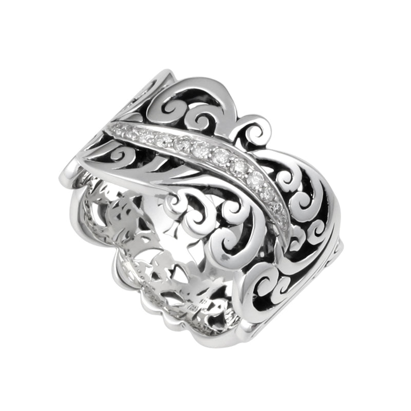 Signature Sterling Silver Open Scroll Ring with White Diamonds Accents