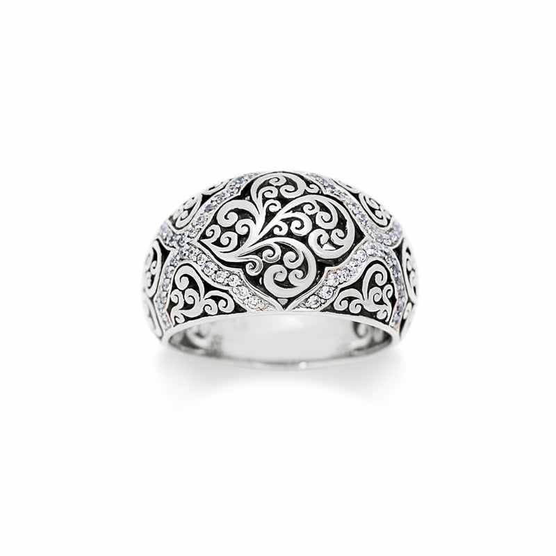 Classic Cutout Scroll and Diamond Accents Band Ring