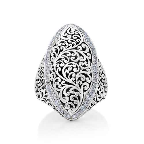 Marquise Scroll and Diamond Ring