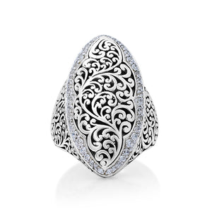 Marquise Scroll and Diamond Ring - Lois Hill Jewelry