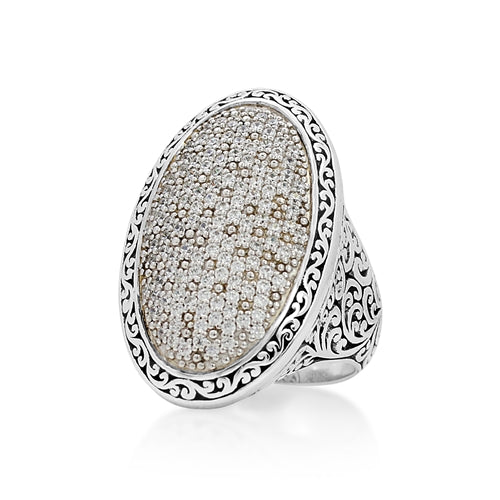 Signature Scroll Oval Cocktail Pave Diamond Ring