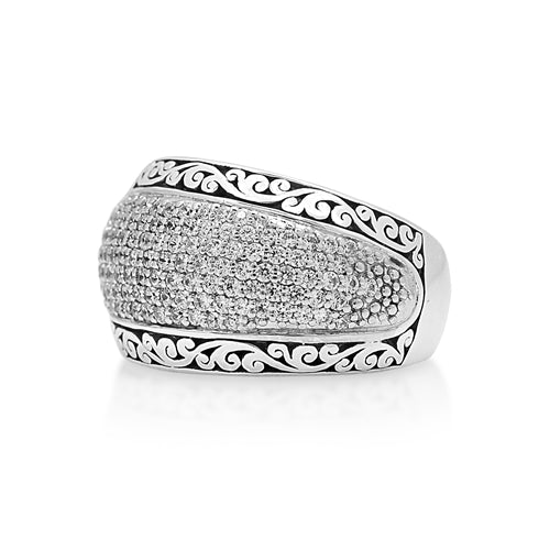 Signature Scroll Diamond Tapered Band - Lois Hill Jewelry
