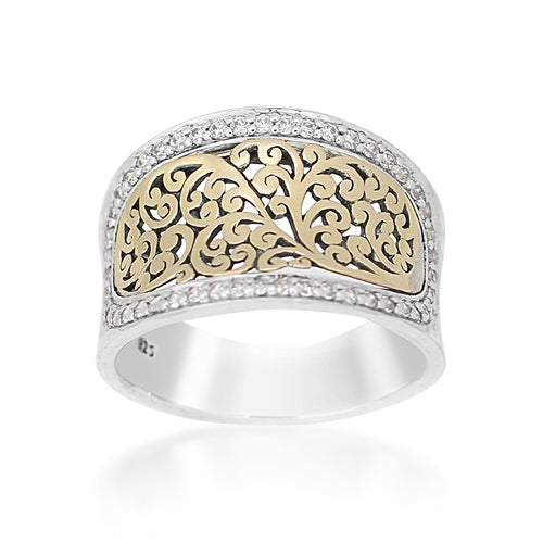 18K Gold Flat Open Scroll, Diamond Tapered Cigar Band - Lois Hill Jewelry