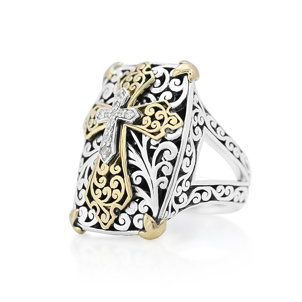 18K Gold, White Diamond, Sterling Silver Ring - Lois Hill Jewelry