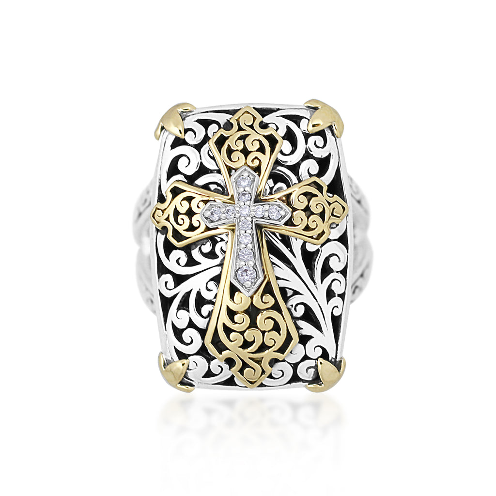 18K Gold, White Diamond, Sterling Silver Ring