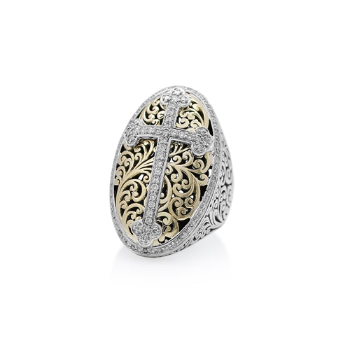 18K Gold, White Diamond, Oval Sterling Silver Cross Ring