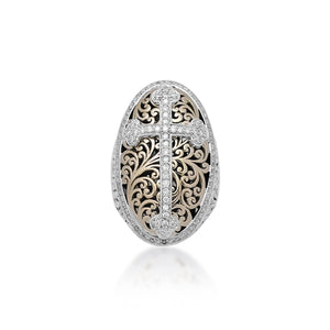 18K Gold, White Diamond, Oval Sterling Silver Cross Ring - Lois Hill Jewelry