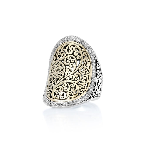 18K Gold & Diamond Concave Ring w/Silver